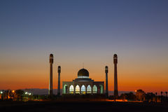Sunset at mosque Stock Photography