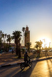 Sunset on mosque. Sunset on the mosque in marrakech royalty free stock images