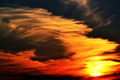 Sunset. The most beautiful yellow sunset royalty free stock images
