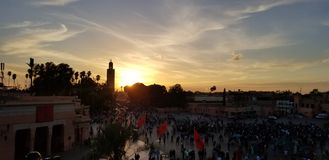 Sunset by the most important mosque in Morocco. stock image