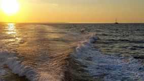 Sunset from a motor boat Royalty Free Stock Images