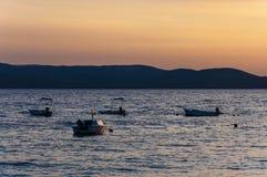 Sunset motorboats. Adriatic sea, Makarska, Croatia. Makarska Riviera is one of the most famous tourist destination in Croatia stock images