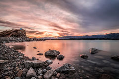 Sunset at Mount Cook National Park alongside Lake Pukaki Stock Images