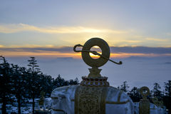 Sunset on Mount Emei in Sichuan Royalty Free Stock Image