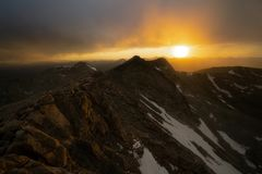 Sunset on Mount Evans. From the summit of Mount Evans, in Colorado royalty free stock photos