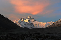 Sunset of Mount Everest. View from tibetan base camp 1#. Photo taken in late May royalty free stock photos