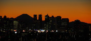 Sunset with Mount Fuji and Shinjuku Stock Images
