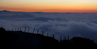 Sunset on Mount Jaizkibel, Gipuzkoa Royalty Free Stock Images