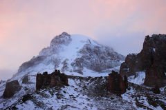 Sunset and Mount Kazbek (the view from the Betlemi hut) Stock Photo