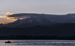 Sunset and Mount Rosa from Varese Lake Stock Photos