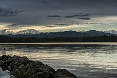 Sunset and Mount Rosa from Varese Lake Royalty Free Stock Photos