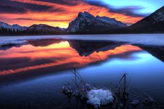 Sunset Mount Rundle Royalty Free Stock Images