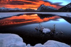 Sunset Mount Rundle Royalty Free Stock Photo