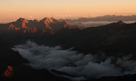 Sunset in the mountain Royalty Free Stock Photography