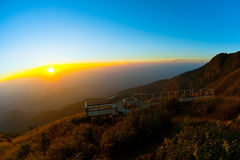Sunset from mountain. Viewpoint, naturally in the mountains, skyline, orange. sparkling sun Royalty Free Stock Image