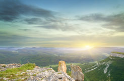 Sunset in mountain. Royalty Free Stock Photography