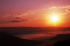 Sunset in mountain Stock Image