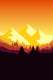 Sunset mountain background. 2d illustration of a sunset mountain background Stock Image