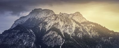 Sunset on a mountain in the Bavarian Alps royalty free stock photo