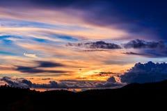 Sunset on mountain Stock Photography