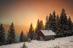 Sunset mountain. Mountain sunset at carpathian mountains Ukraine Royalty Free Stock Photos