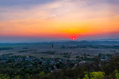 Sunset on the mountain in Chiang Rai,North of Thailan Stock Images