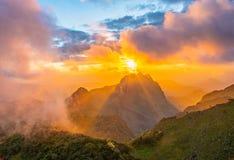 Sunset light orange falls on the hill. royalty free stock photos