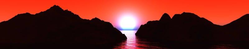 Sunset on the mountain coast Royalty Free Stock Photos