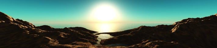 Sunset on the mountain coast Royalty Free Stock Photography