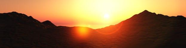Sunset on the mountain coast Stock Image