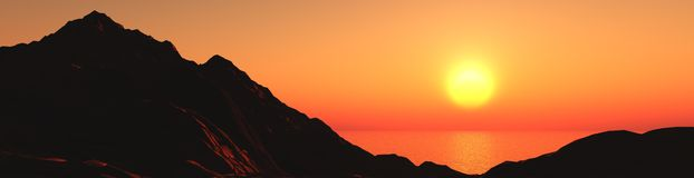 Sunset on the mountain coast Stock Photo