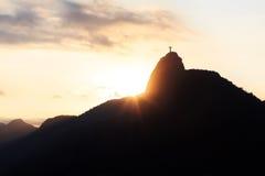 Sunset Mountain Corcovado Christ the Redeemer, Rio de Janeiro Royalty Free Stock Images