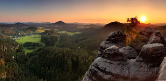 Sunset in mountain Czech Switzerland Stock Photography
