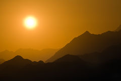 Sunset in mountain desert Royalty Free Stock Images