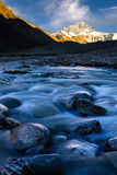 Sunset of mountain Everest at Everest Base Camp Stock Photography