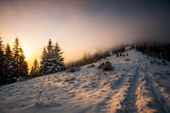Sunset mountain. Hill road at winter in carpathian Ukraine Stock Photos