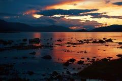 Sunset on Mountain Lake Royalty Free Stock Photography