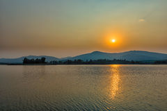 Sunset on mountain lake in Chiang Rai,North of Thailand Stock Photos