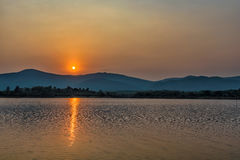 Sunset on mountain lake in Chiang Rai,North of Thailand Stock Photography
