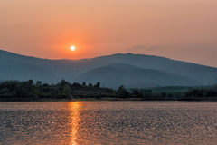 Sunset on mountain lake in Chiang Rai,North of Thailand. Beautiful landacape on sunset background,mountain lake in Chiang Rai,North of Thailand Stock Photography