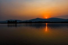 Sunset on mountain lake in Chiang Rai,North of Thailand Royalty Free Stock Photography