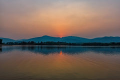 Sunset on mountain lake in Chiang Rai,North of Thailand Stock Photo
