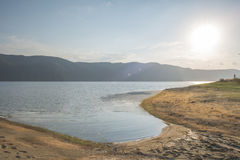 Sunset on mountain lake Royalty Free Stock Image