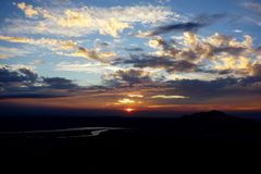Sunset. Mountain landscape in Taipei Royalty Free Stock Photo