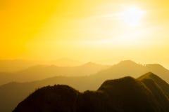 Sunset mountain and layer, vintage retro concept.  stock photos