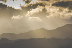 Sunset on the mountain. Motueka New Zealand Stock Photo