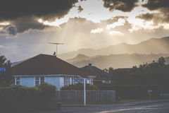 Sunset on the mountain. Motueka New Zealand Royalty Free Stock Photo
