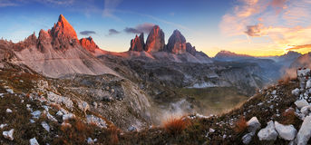 Sunset mountain panorama in Dolomites - Tre Cime Stock Image