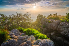 Sunset at mountain peak, Phu Hin Rong Kla National Park, Thailan Stock Photography