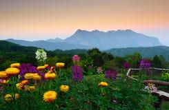 Sunset at mountain range Stock Image